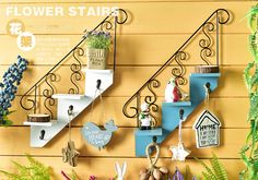2016 American style creative new rural idyll stairs cafe clothing shop wall decorations hanging shelf Pallet Crafts, Diy Home Crafts, Decor Crafts, Diy Home Decor, Wood Crafts, Diy Art Projects Canvas, Inspiration Artistique, House Plants Decor, Eclectic Decor