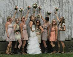 Country Farm Bride with bridesmaids
