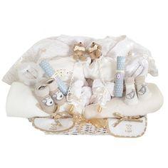 CANASTILLA GEMELOS ALGODÓN. Cestas para gemelos, mellizos, trillizos. Canastillas para bebés y recién nacidos.