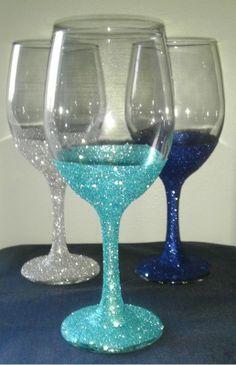 Glitter wine glasses diy