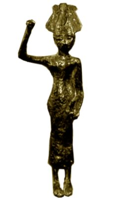 """In the Ugaritic Ba'al/Hadad cycle 'Anat is a violent war-goddess, a virgin in Ugarit (btlt 'nt) though the sister and lover of the great Ba'al known as Hadad elsewhere. Ba'al is usually called the son of Dagon and sometimes the son of El. 'Anat is addressed by El as """"daughter"""". Photo: Bronze figurine of Anat wearing an atef crown with arm raised (originally holding an axe or club), dated to 1200-1400BC, found in Syria."""