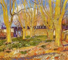 Vincent van Gogh (Dutch, Post-Impressionism, 1853-1890) Avenue of Plane Trees near Arles Station, 1888. Oil on canvas. Musée Rodin, Paris