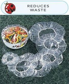 Like shower caps for your food! That's clever! They would be easier to keep to transfer the food back home than saran wrap. Dinner Box, Car Guide, Buy Used Cars, Recycling, Home Goods Decor, Hacks, Dollar Stores, Diy And Crafts, Clever