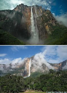 Angel Falls (Salto Ángel) in Venezuela is the highest waterfall in the world. The falls are 3230 feet in height with an uninterrupted drop of 2647 feet. Angel Falls are located on a tributary of the Rio Caroni. T