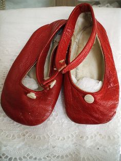SHOES~vintage red baby shoes