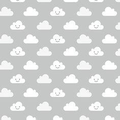 Estampa Pattern Nuvem feliz. Na cor Cinza.