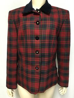 Pendleton Boyd Plaid Jacket 12 Women's Virgin Wool Tartan Blazer Small Flaw #Pendleton #Blazer
