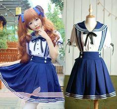 JK Uniform Japanese School Navy Sailor Short-Sleeve Shirt And Suspenders Skirt | Clothing, Shoes & Accessories, Costumes, Reenactment, Theater, Costumes | eBay!