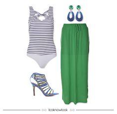 Body Listrado + Saia Longa Verde + Brinco + Sandália de Tiras #moda #look #outfit #color #ootd #body #listras #saia #gatabakana #estratosfera #ecommerce #lojaonline #lnl #looknowlook