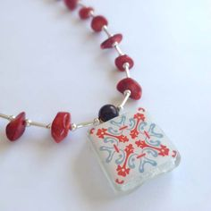 Spanish Tile, Red Coral and Silver Beaded Necklace - Handmade