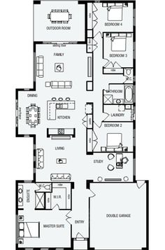 Soho, New Home Floor Plans, Interactive House Plans - Metricon Homes - Queensland 5 Bedroom House Plans, House Floor Plans, Soho House, New Home Designs, Architecture Plan, Interior Design Living Room, New Homes, House Design, Flooring