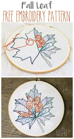 Fall Leaf Free Embroidery Pattern