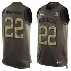 Nike #Broncos #22 C.J. #Anderson Green Men's Stitched #NFL Limited Salute To Service Tank Top #Jersey