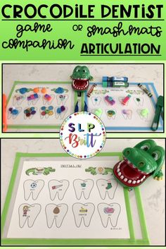 Crocodile dentist articulation, game companion or smash/activity mats - Another! Articulation Therapy, Articulation Activities, Speech Therapy Activities, Language Activities, Preschool Activities, Speech Therapy Games, Speech Language Pathology, Speech And Language, Crocodile Dentist