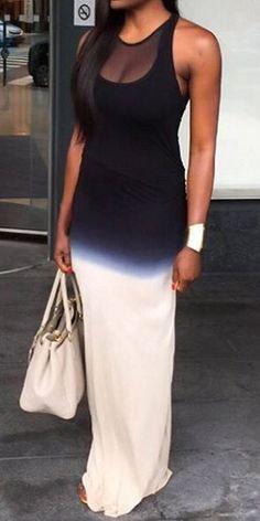 Black Patchwork Grenadine Round Neck Fashion Polyester Maxi Dress