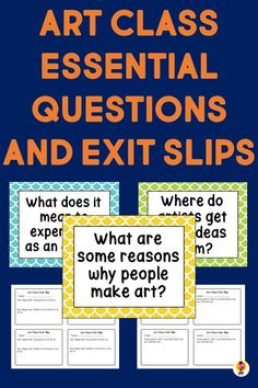 Open ended art class essential questions for middle level and elementary students with exit slips #artessentialquestions #artexitticket #artexitslips Middle School Art, Art School, Teaching Tools, Teaching Resources, Exit Slips, Essential Questions, Art Curriculum, Seventh Grade, Art Lessons Elementary