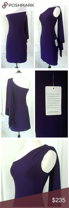 Mack And James  Purple Nordstrom Dress Mack and James Badgley Mishka purple dress from Nordstrom. One shoulder with single back drape. Side zip, lined. One tag still attached. Mack And James Dresses