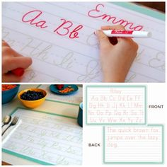 Personalized dry erase cursive writing placemats for kids. We will teach it, even if the schools don't!