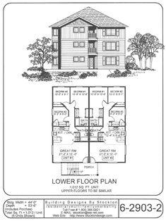 6 plex 4 2nd floor apartment house plan ideas for Three plex floor plans