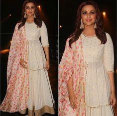 Beautiful Chiffon-Silk Dress with dupatta. Embellished with gota work. Indian Designer Outfits, Indian Outfits, Designer Dresses, Indian Gowns, Pakistani Dresses, Pakistani Sharara, Pakistani Suits, Sabyasachi, Punjabi Suits