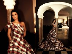 Stunning tartan wedding dress