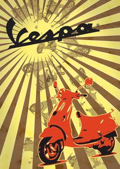 Vespa vintage Vintage Advertising Posters, Vintage Travel Posters, Vintage Advertisements, Vintage Ads, Vespa Italy, Vespa Illustration, Graphic Eyes, Italian Posters, Bike Poster
