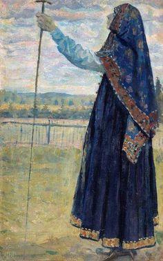 Mikhail Nesterov - woman with a stick,1914