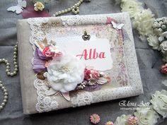 Elena Arts: Libro de firmas para la Comunión de Alba. Invitaci... Shabby Chic, Scrapbook, Alba, Frame, Cards, Decor, Modeling Paste, Signature Book, The Creation
