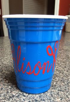 Insulated solo cup w/ shears and name in vinyl