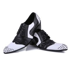White and Black Studded Leather High Heel Lace Up Punk Rock Shoes Men SKU-1280611