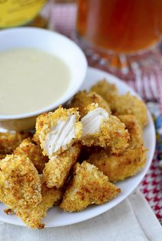Baked Popcorn Chicken with Maple Dijon Dipping Sauce | iowagirleats.com