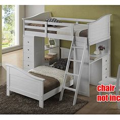 1PerfectChoice Youth Kids Bedroom Twin Loft Bed Ladder Workstation Chest Drawer Desk Wood White * See this great product. (Amazon affiliate link)