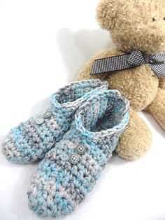 Womens Slippers in Blue and Grays  ~ Size Small to Medium Womens, Womens Gray House Shoes, Crochet Slippers for Women ~ Gift for Mom, Socks by crochetedbycharlene on Etsy