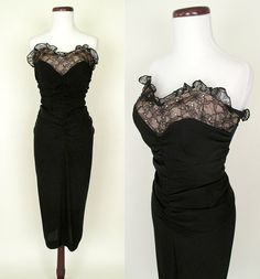 Stunning 1950's Black Couture Strapless Cocktail Party Dress w/ Lace & Rhinestones Very Dior Rockabilly Pinup Vixen Hourglass Size-Small