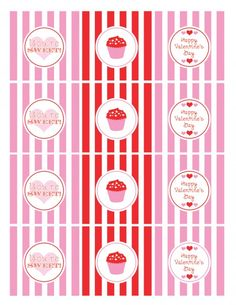 "FREE - Once again we're the luckiest site in the world! Katie from Green Apple Paperie designed this adorable ""cupcake"" collection of FREE Valentine's Day party printables just for us.    The collection includes: party circles, favor tags, candy bar wrappers, mini candy bar wrappers, food tents, and a ""Be Mine"" banner. They are so sweet, I could just eat them!"