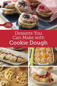 12 Desserts You Can Make from Sugar Cookie Dough When you're short on time and in need of a crowd-worthy dessert, count on these 12 desserts that start with Betty Crocker sugar cookie mix and end with impressed guests. Cookie Dough Desserts, Sugar Cookie Dough, Sugar Cookies Recipe, Cookie Recipes, Dessert Recipes, Pillsbury Cookie Dough, Betty Crocker Sugar Cookies, Delicious Desserts, Crowd