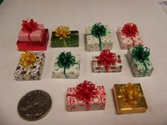 Miniature Dollhouse Sized Christmas Presents, Lot of 10