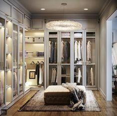 Walk In Closet Design, Closet Designs, City Bedroom, Home Decor Bedroom, Luxury Homes Interior, Home Interior Design, Rich Girl Bedroom, Wardrobe Room, Dressing Room Design