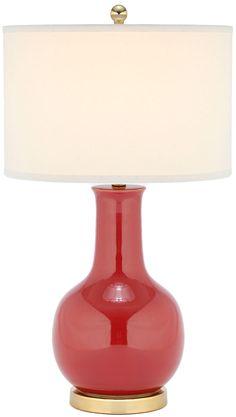 Red Glazed Ceramic Gourd Lamp Red Table Lamp, Ceramic Table Lamps, Glam Lamps, Gourd Lamp, Contemporary Table Lamps, Vase Shapes, Elegante Designs, Fabric Shades, Glazed Ceramic