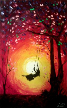 Original Abstract Painting  The Swing  Acrylic by ArtonlineGallery, $165.00