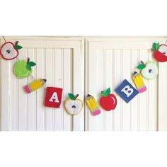 Back to School banner bunting - fall banner, apple banner, pencils, A personal favorite from my Etsy shop https://www.etsy.com/listing/468288485/custom-length-back-to-school-burlap-felt