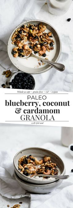 Paleo Blueberry Granola with Coconut & Cardamom is grain-free, vegan, option. This chunky granola makes the perfect healthy breakfast or snack! Gourmet Recipes, Snack Recipes, Dessert Recipes, Healthy Recipes, Paleo Food, Brunch Recipes, Breakfast On The Go, Vegan Breakfast Recipes, Breakfast Dessert