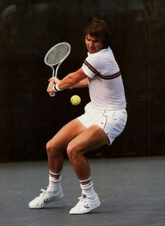 Jimmy Connors at the US Open wielding his Wilson T2000 in the 1980's.