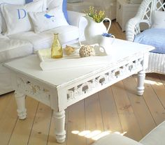 painted turquoise shabby chic coffee table   white  furniture by backporchco on Etsy, $295.00