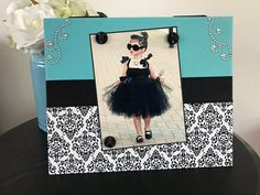 breakfast at tiffanys woman girl teen room decor bridal shower gift handmade magnetic picture frame holds 5 x 7 photo 9 x 11 size