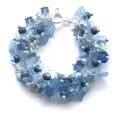 Blue Beaded Bracelet Floral Flower Bead Ice by beadingshaz on Etsy