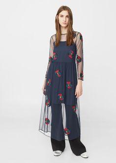 Платье из тюля с вышивкой | MANGO МАНГО
