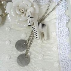 Zebra Pendant Long Necklace Silver - One Size