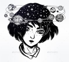Portriat of cute girl face with head spin halo of planets and stars. Manga style, space, sci-fi, tattoo art. Isolated vector illus