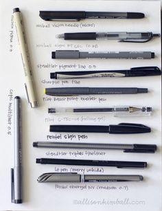 An excellent list of pens ... even though it's missing my favorite, the Uni-ball Signo broad UM-153 gel - WHITE ink.